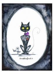 """Mrs. Black Cat"" - 4.7""x6.3"